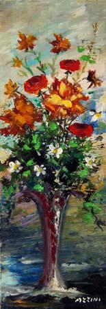 Quadro di Aldo Guglielmo Azzini Vaso floreale - olio faesite